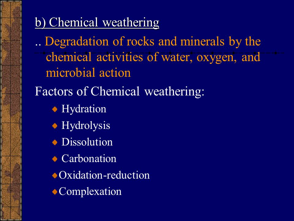 b) Chemical weathering