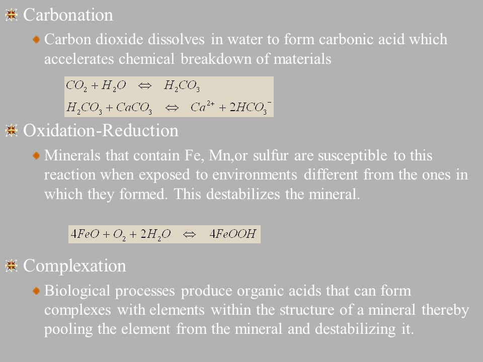Carbonation Oxidation-Reduction Complexation