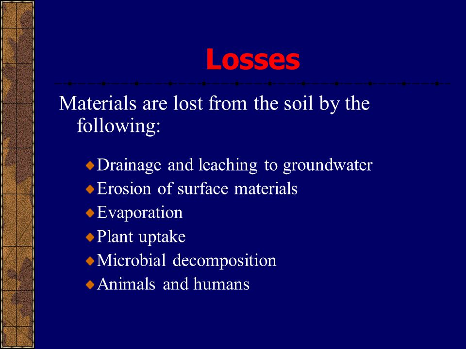 Losses Materials are lost from the soil by the following: