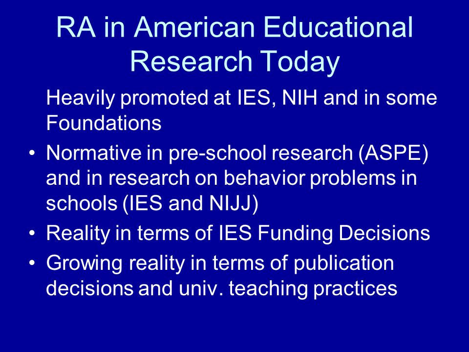 RA in American Educational Research Today