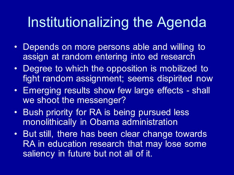 Institutionalizing the Agenda