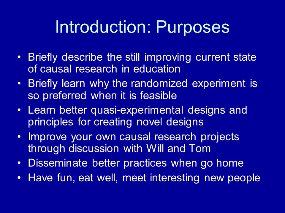 Introduction: Purposes