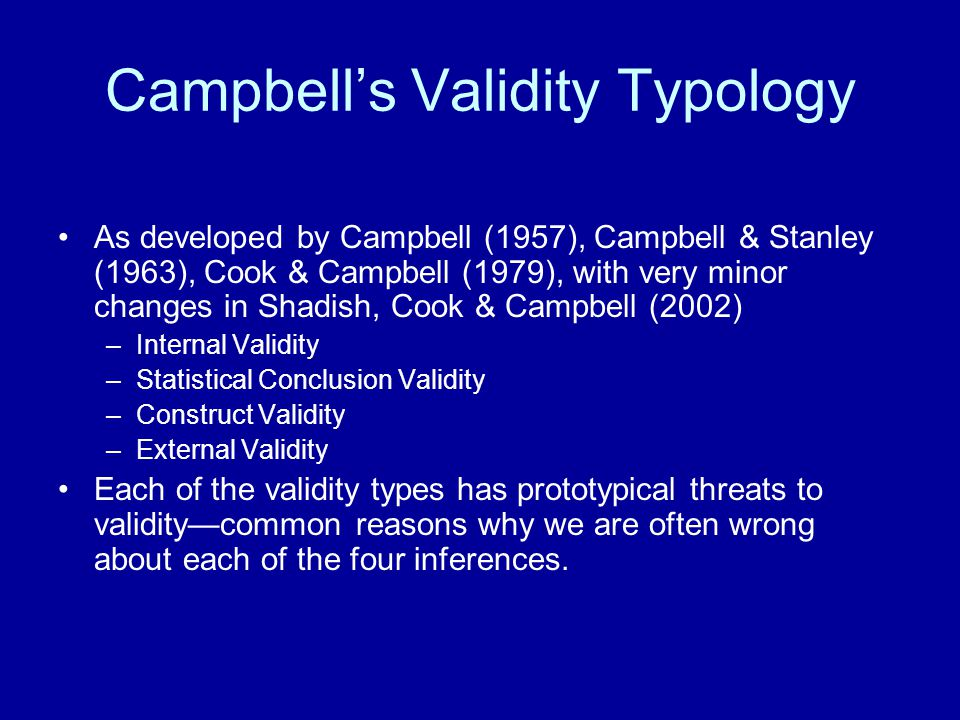 Campbell's Validity Typology
