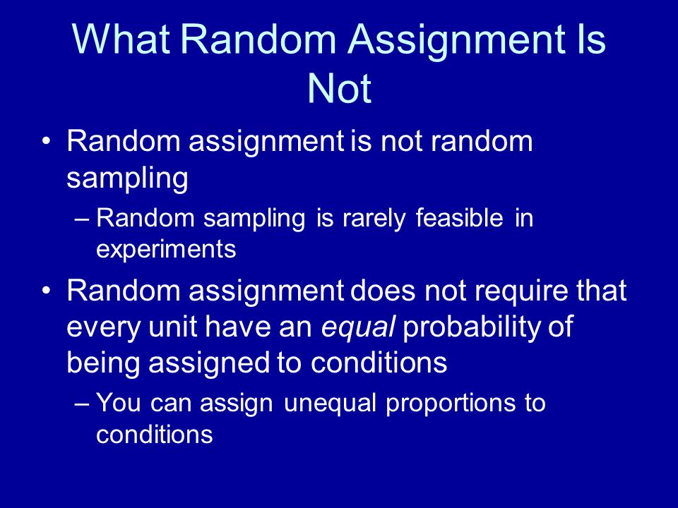 What Random Assignment Is Not