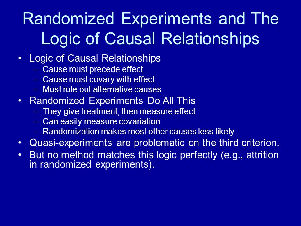 Randomized Experiments and The Logic of Causal Relationships