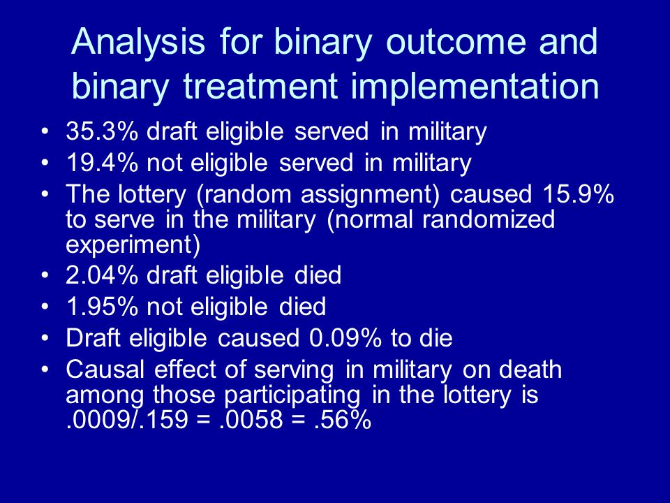 Analysis for binary outcome and binary treatment implementation