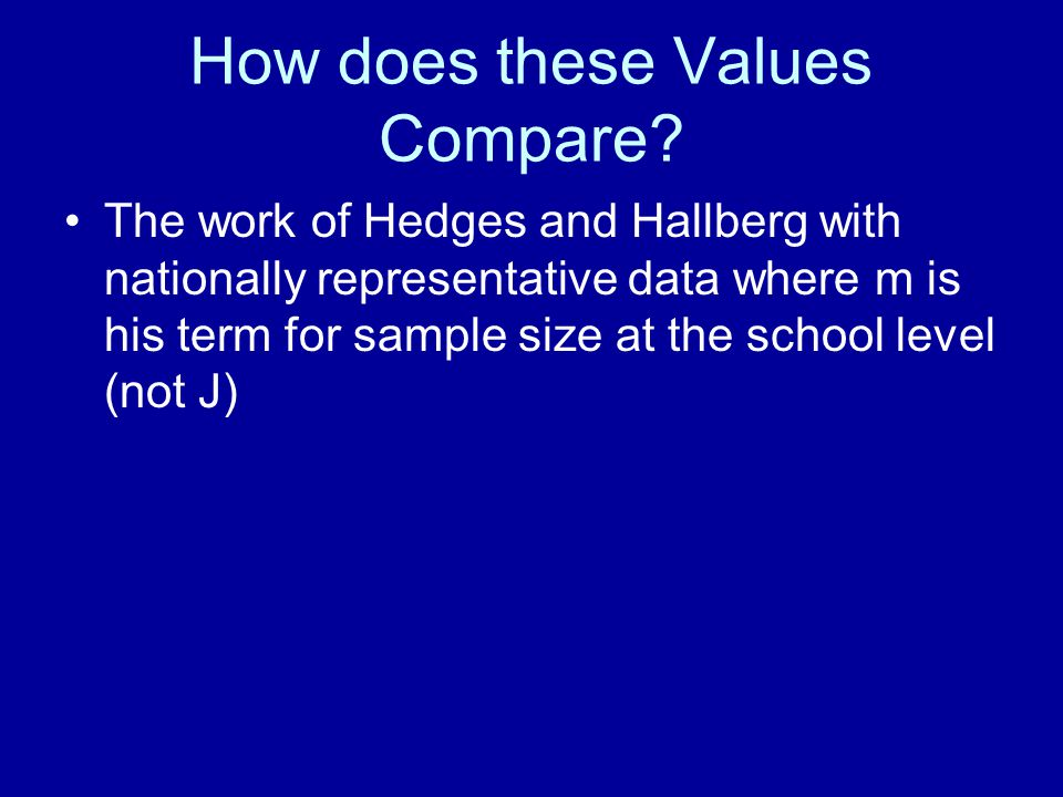 How does these Values Compare
