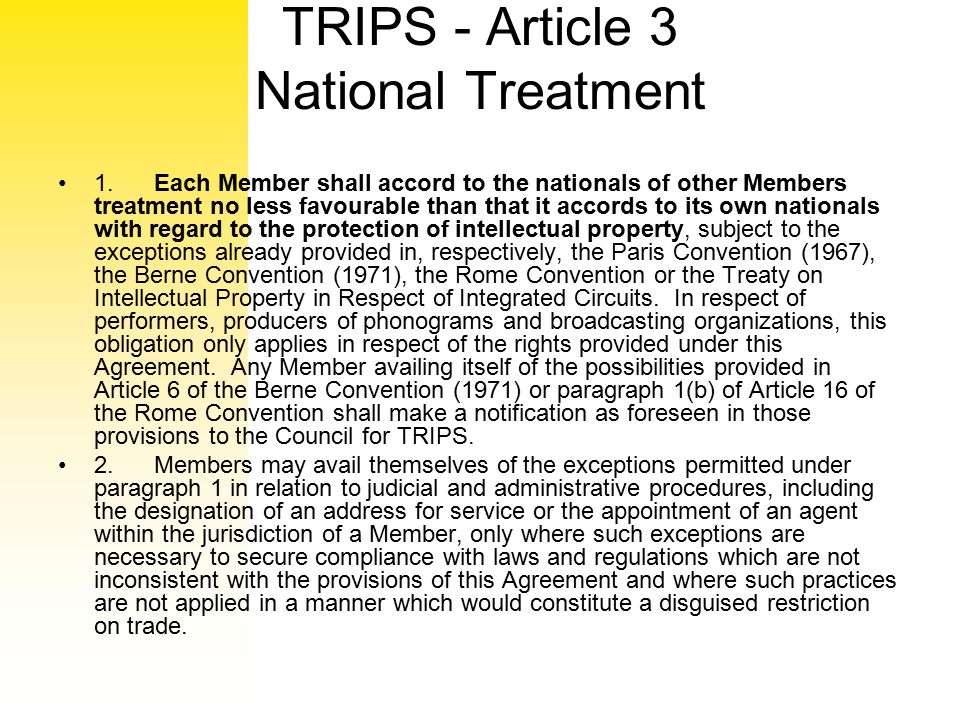 TRIPS - Article 3 National Treatment