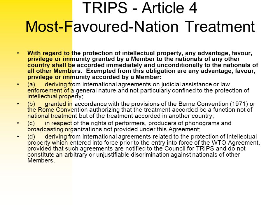 TRIPS - Article 4 Most-Favoured-Nation Treatment