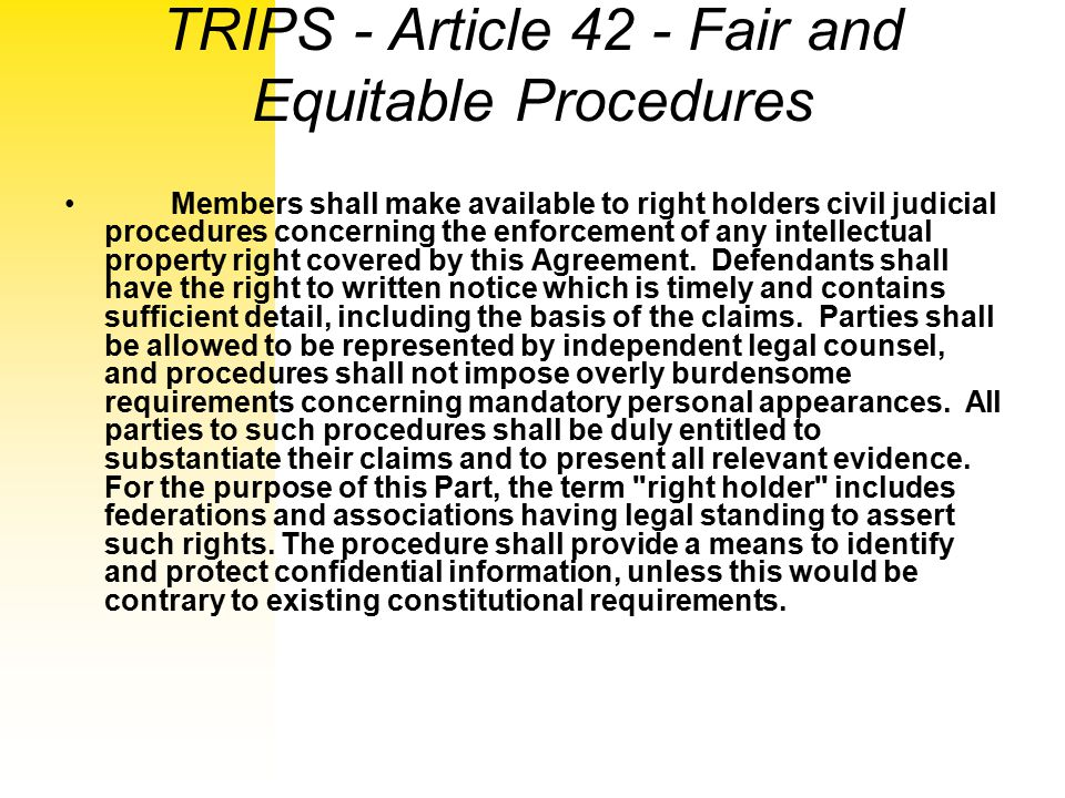 TRIPS - Article 42 - Fair and Equitable Procedures