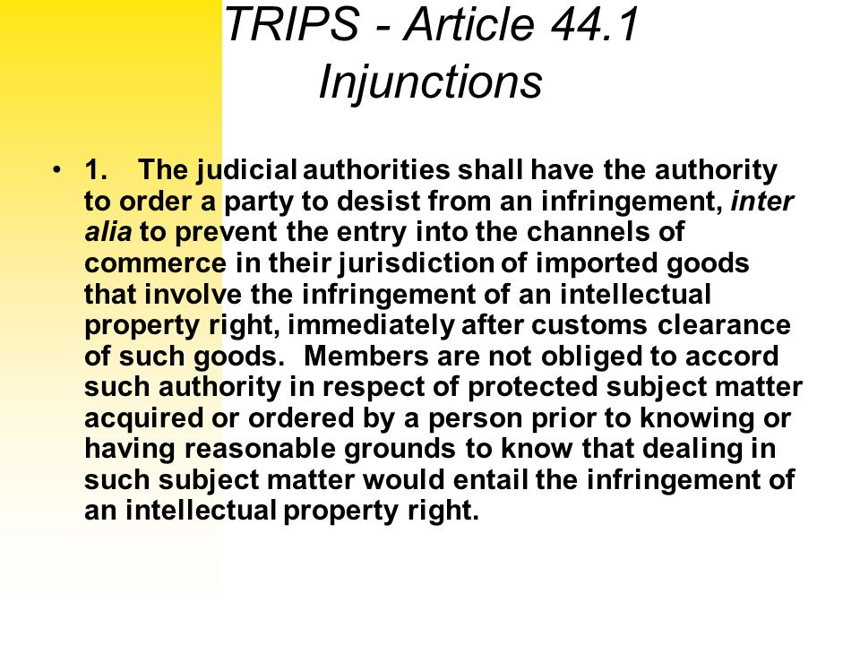 TRIPS - Article 44.1 Injunctions