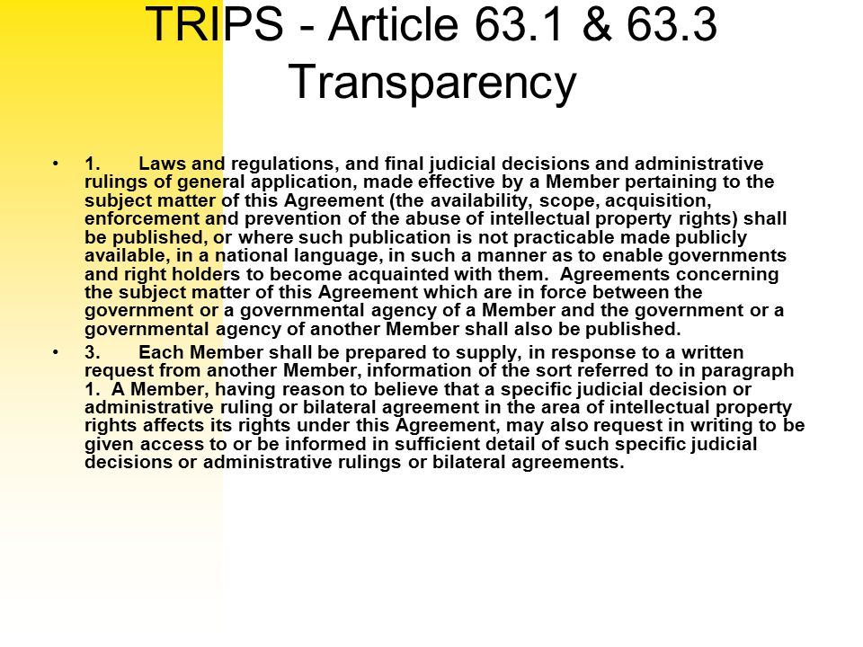 TRIPS - Article 63.1 & 63.3 Transparency