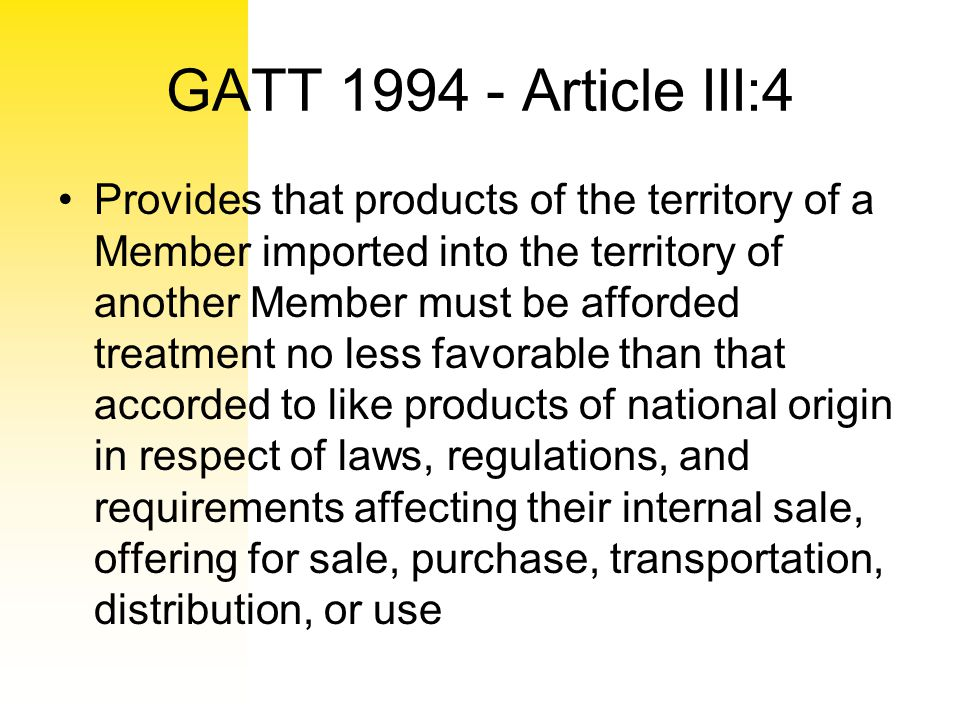 GATT 1994 - Article III:4