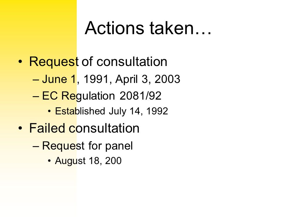 Actions taken… Request of consultation Failed consultation