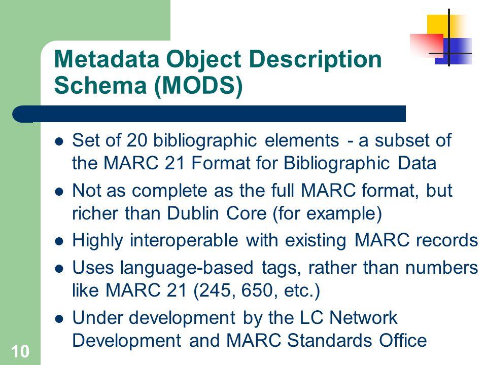 Metadata Object Description Schema (MODS)