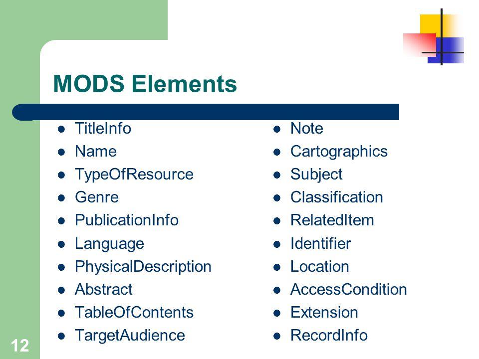 MODS Elements TitleInfo Name TypeOfResource Genre PublicationInfo