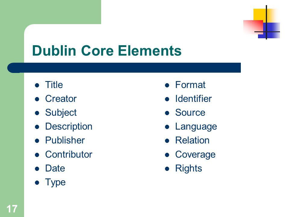 Dublin Core Elements Title Creator Subject Description Publisher