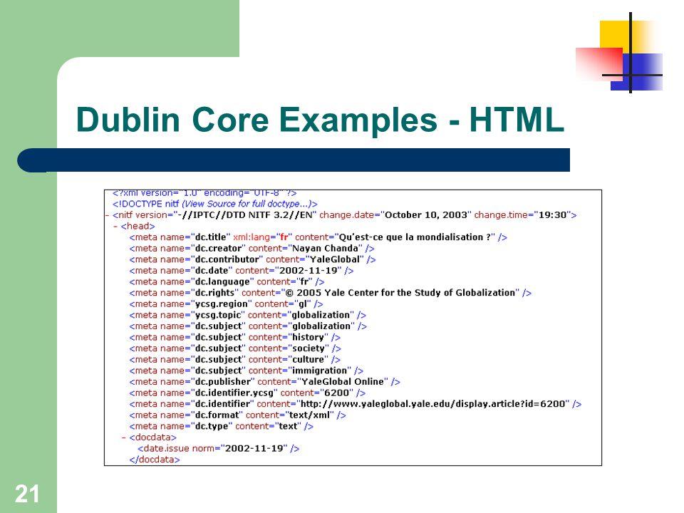 Dublin Core Examples - HTML