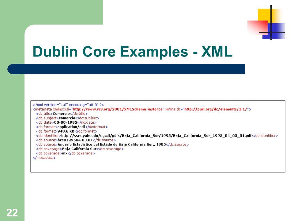 Dublin Core Examples - XML