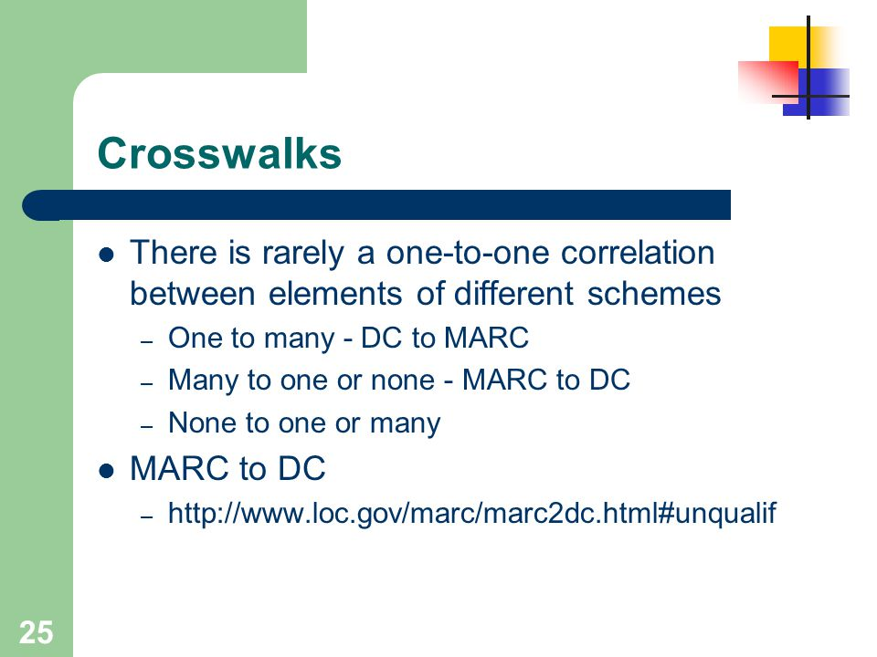 Crosswalks There is rarely a one-to-one correlation between elements of different schemes. One to many - DC to MARC.