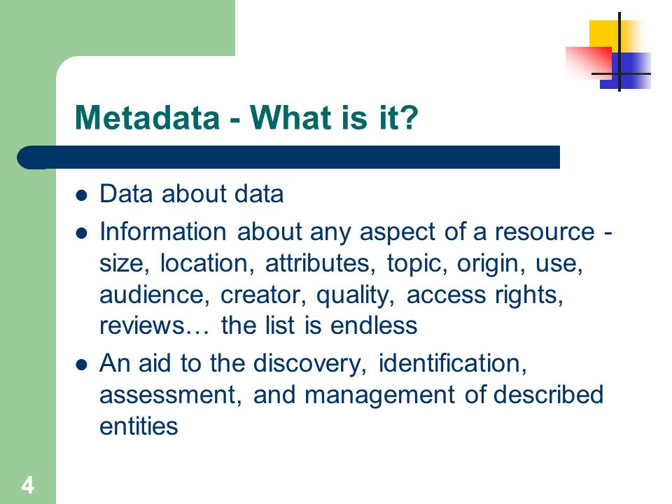 Metadata - What is it Data about data