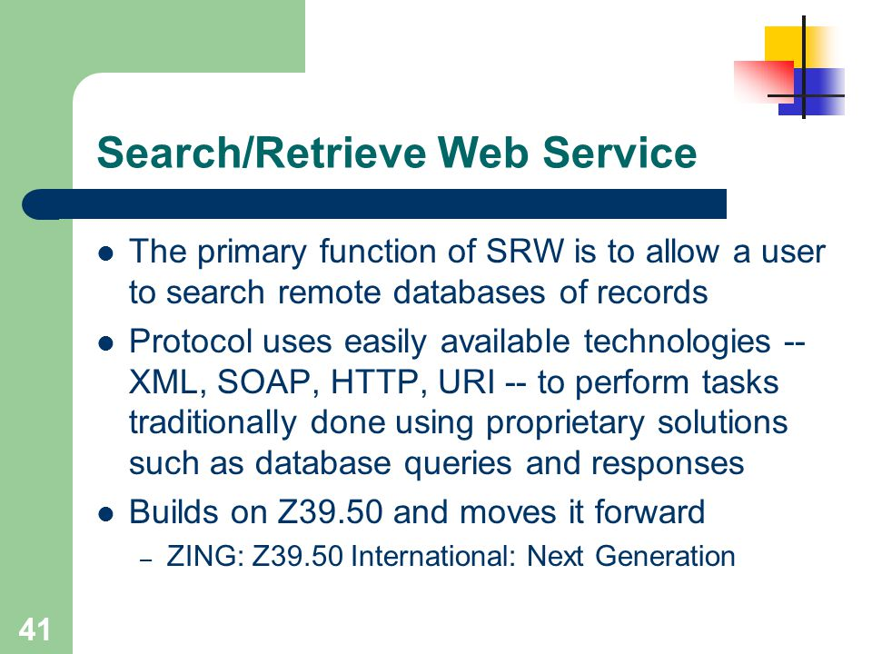 Search/Retrieve Web Service