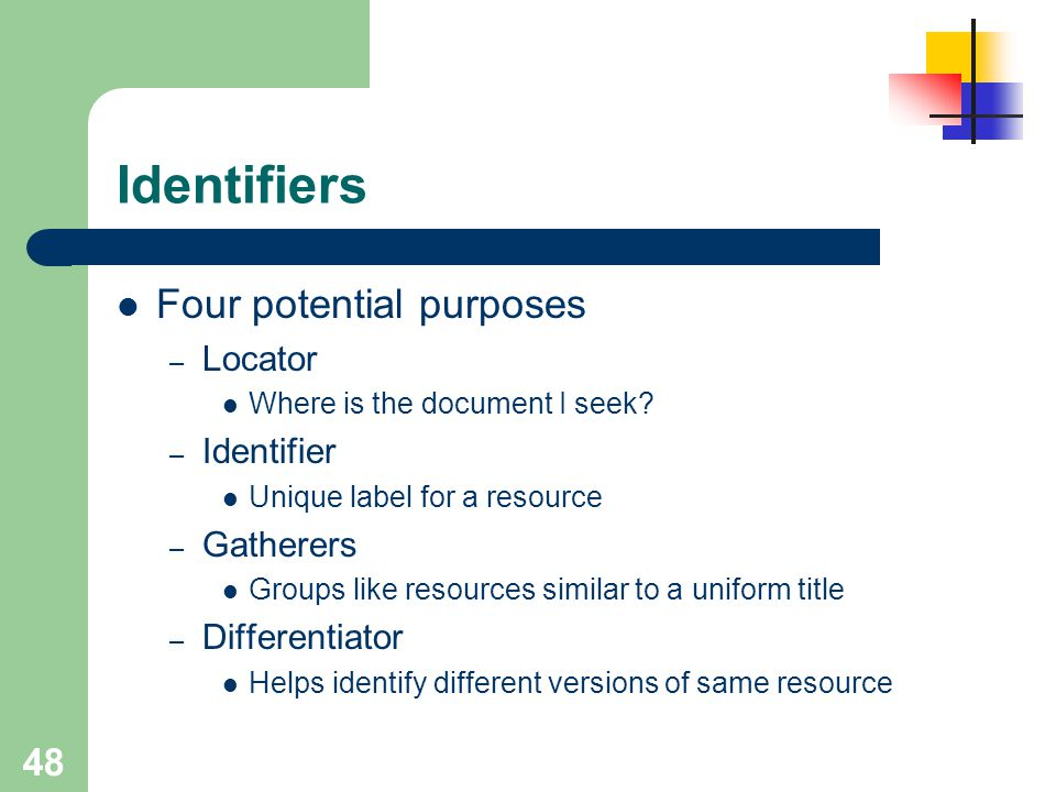 Identifiers Four potential purposes Locator Identifier Gatherers