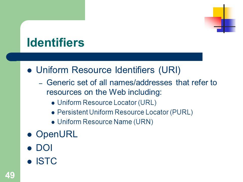 Identifiers Uniform Resource Identifiers (URI) OpenURL DOI ISTC