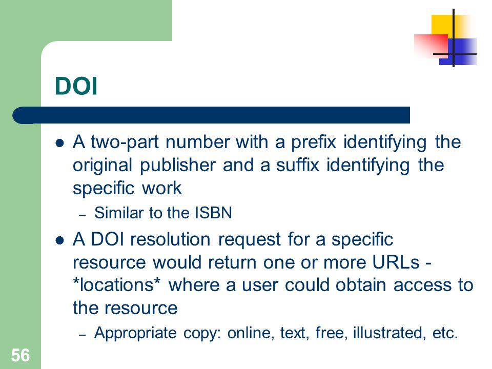DOI A two-part number with a prefix identifying the original publisher and a suffix identifying the specific work.