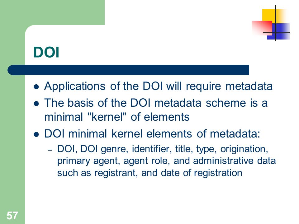 DOI Applications of the DOI will require metadata
