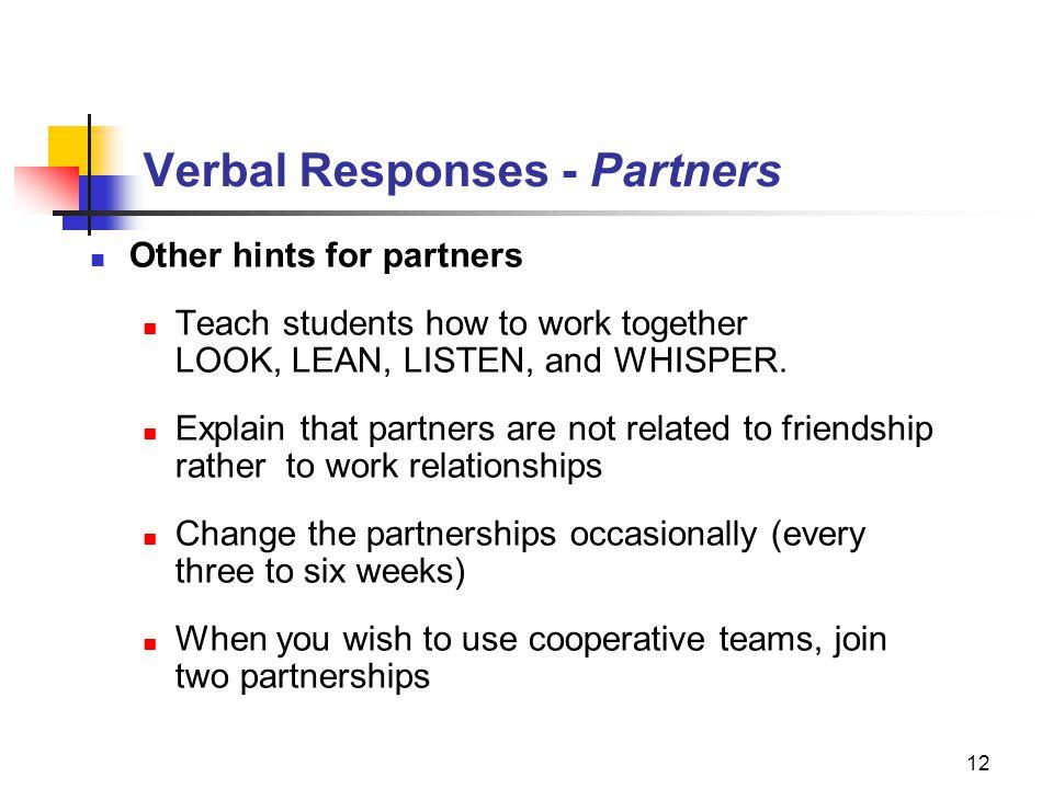 Verbal Responses - Partners