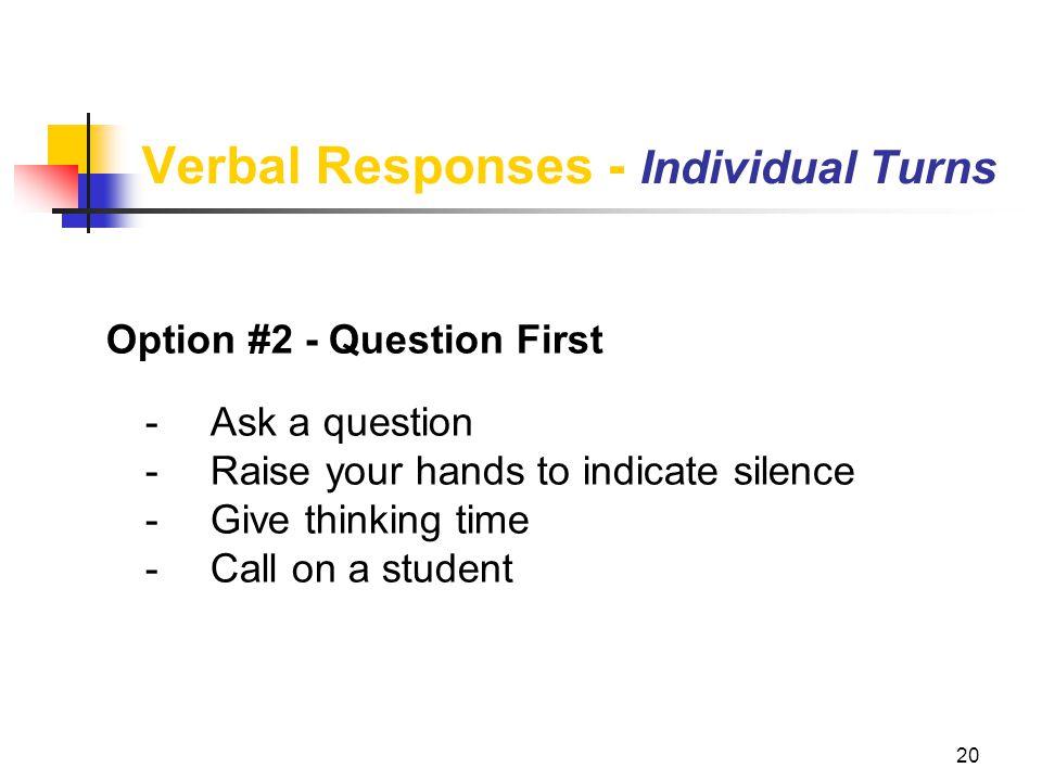 Verbal Responses - Individual Turns