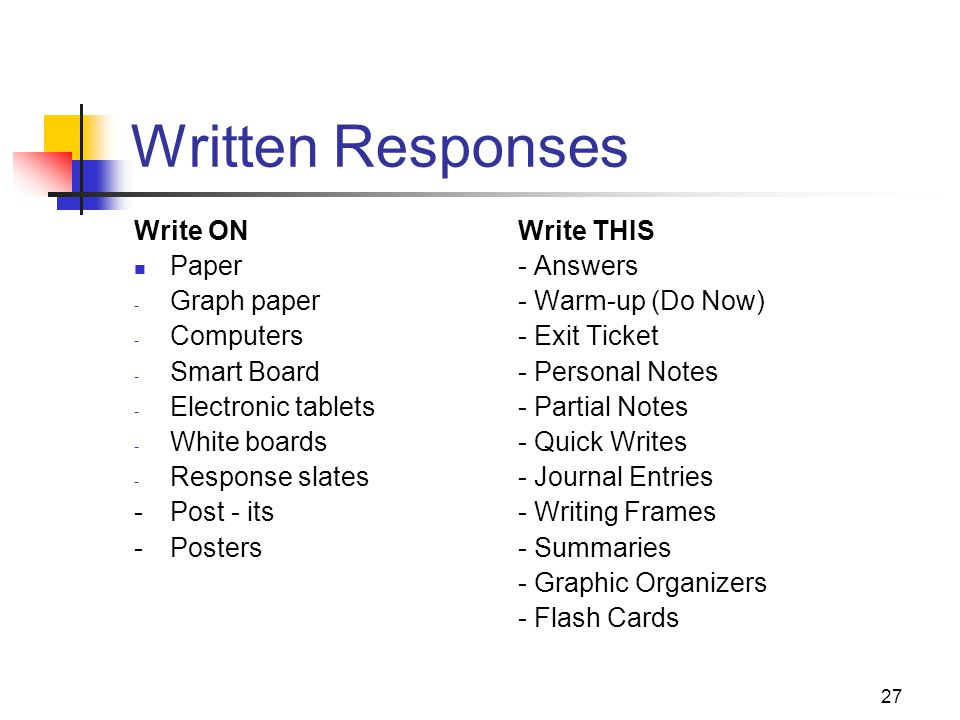 Written Responses Write ON Write THIS Paper - Answers