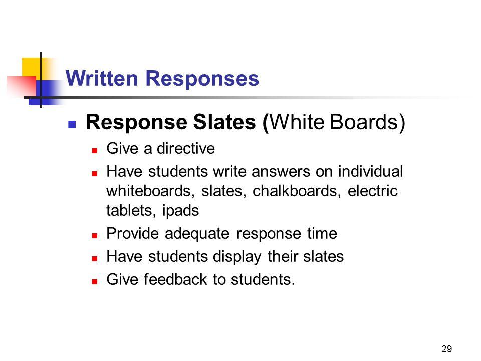 Response Slates (White Boards)