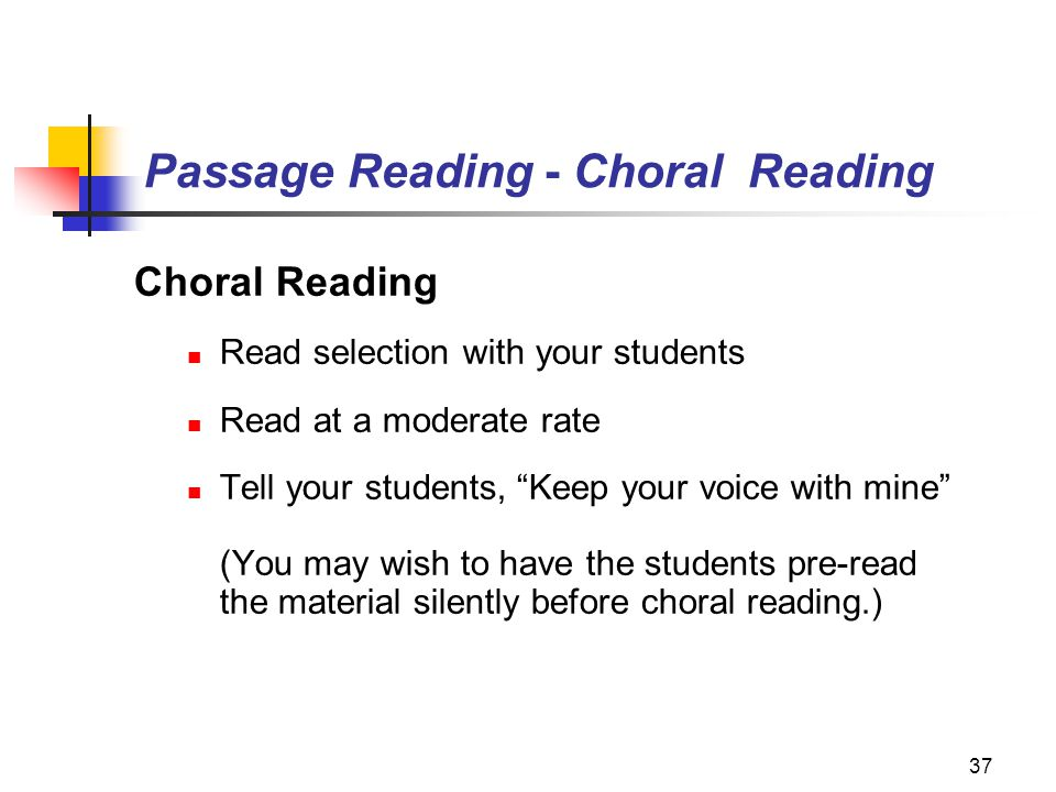Passage Reading - Choral Reading