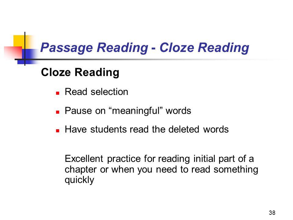 Passage Reading - Cloze Reading