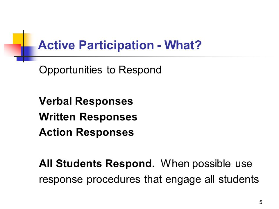 Active Participation - What