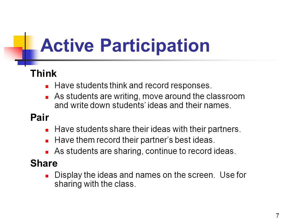 Active Participation Think Pair Share