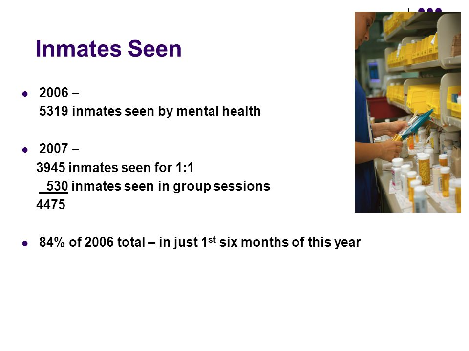 Inmates Seen 2006 – 5319 inmates seen by mental health 2007 –