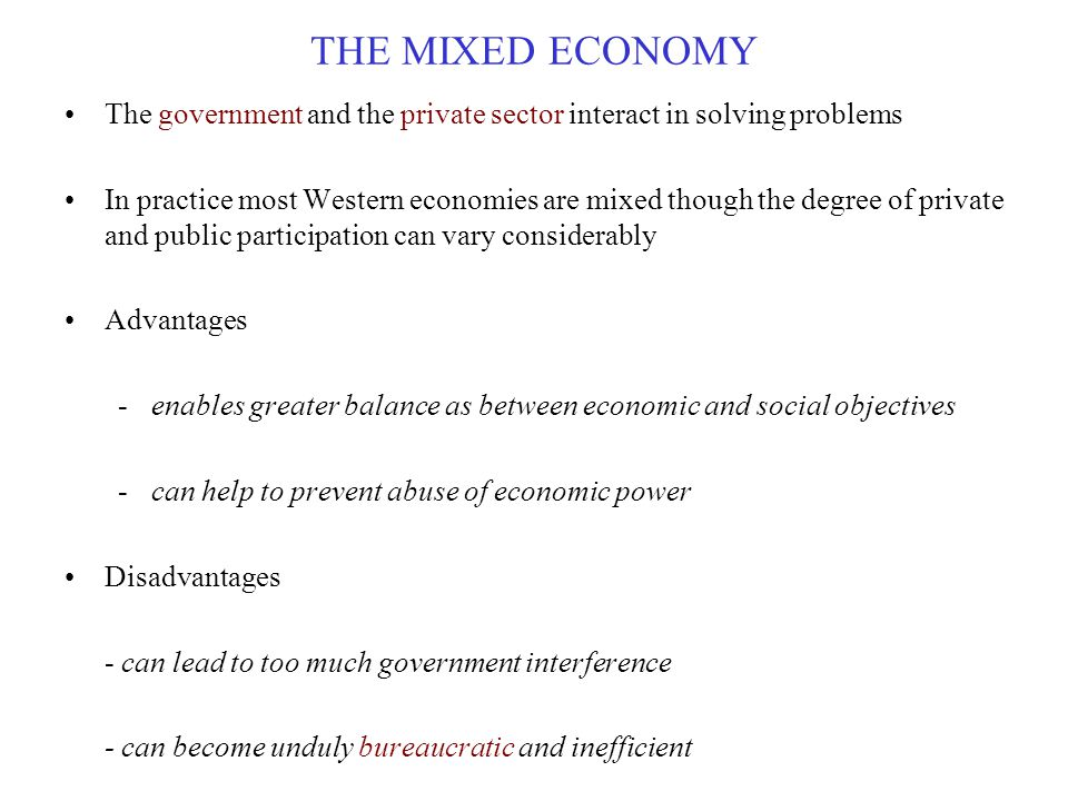 THE MIXED ECONOMY The government and the private sector interact in solving problems.