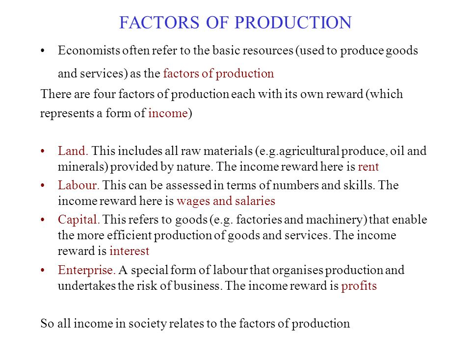 FACTORS OF PRODUCTION Economists often refer to the basic resources (used to produce goods and services) as the factors of production.