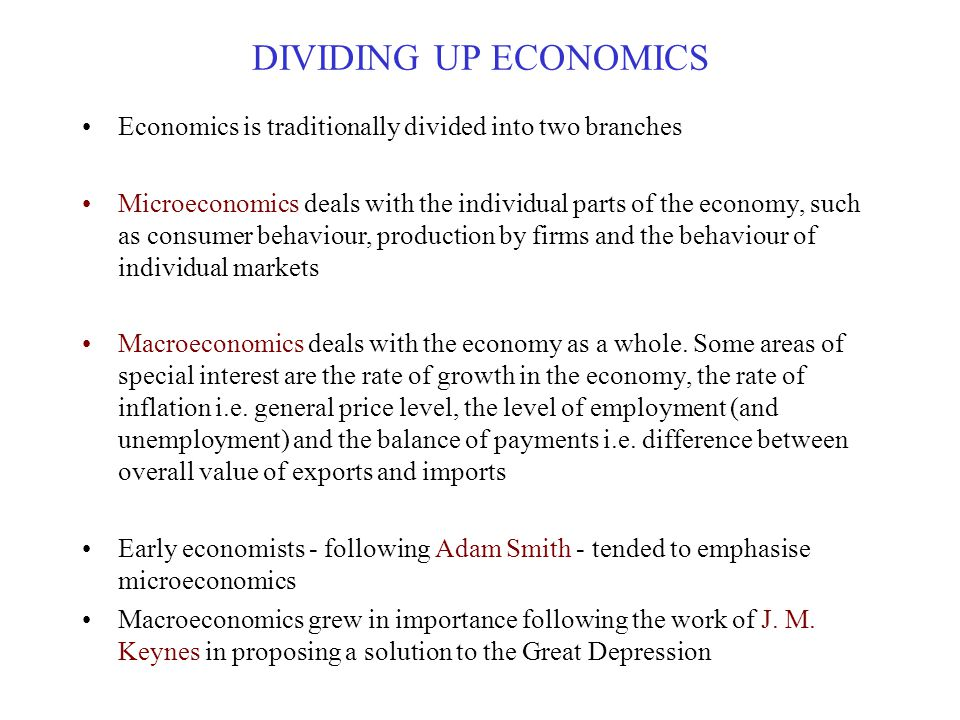 DIVIDING UP ECONOMICS Economics is traditionally divided into two branches.