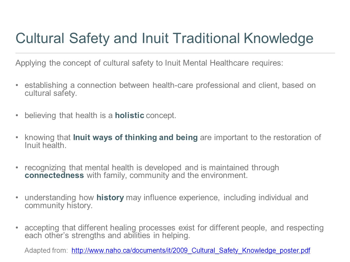 Cultural Safety and Inuit Traditional Knowledge