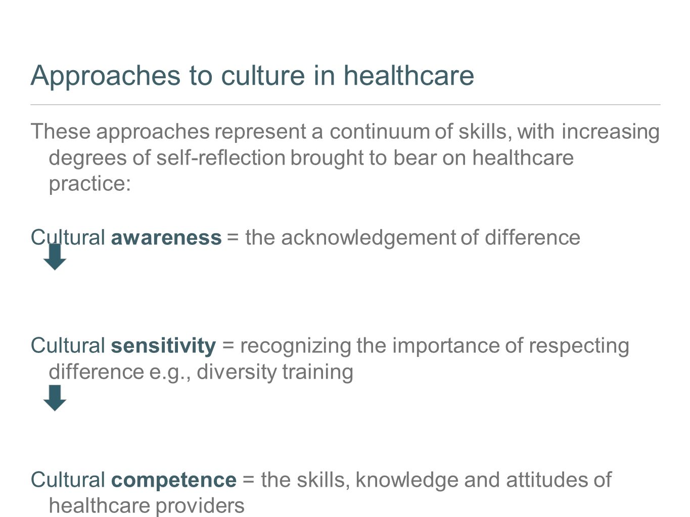 Approaches to culture in healthcare