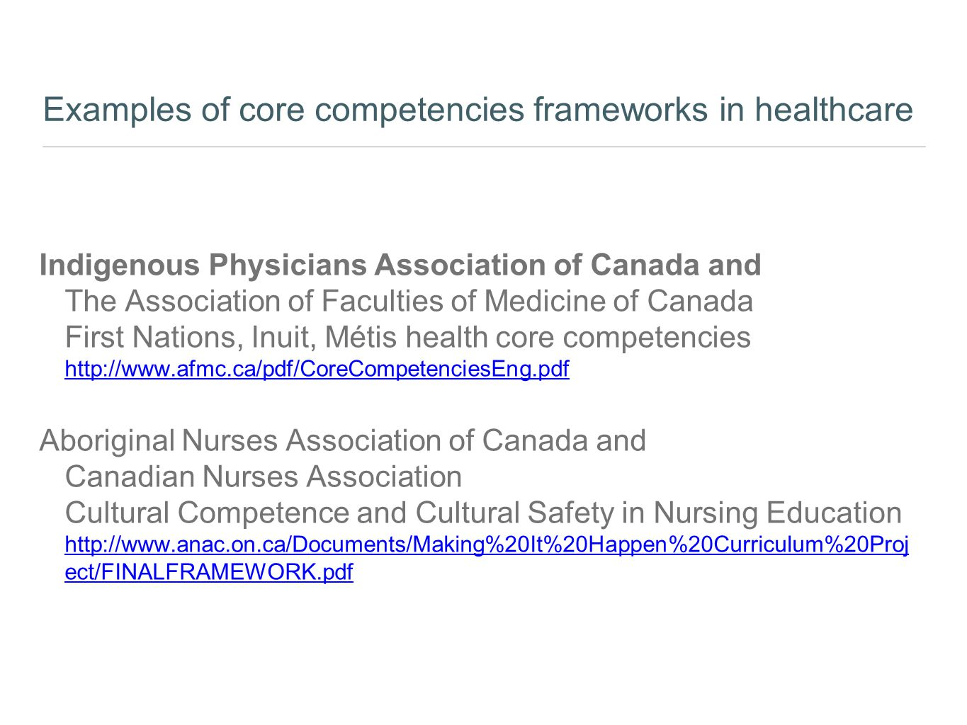 Examples of core competencies frameworks in healthcare