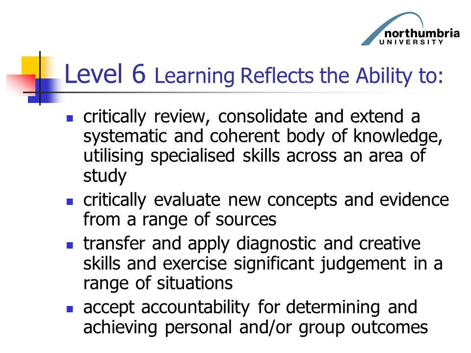 Level 6 Learning Reflects the Ability to: