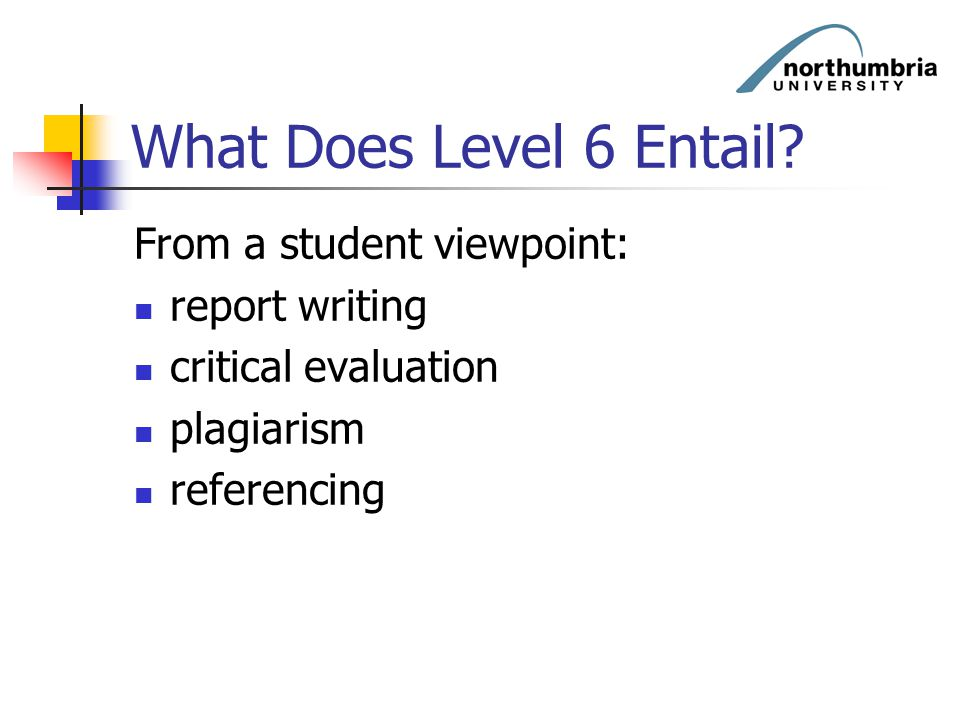 What Does Level 6 Entail From a student viewpoint: report writing