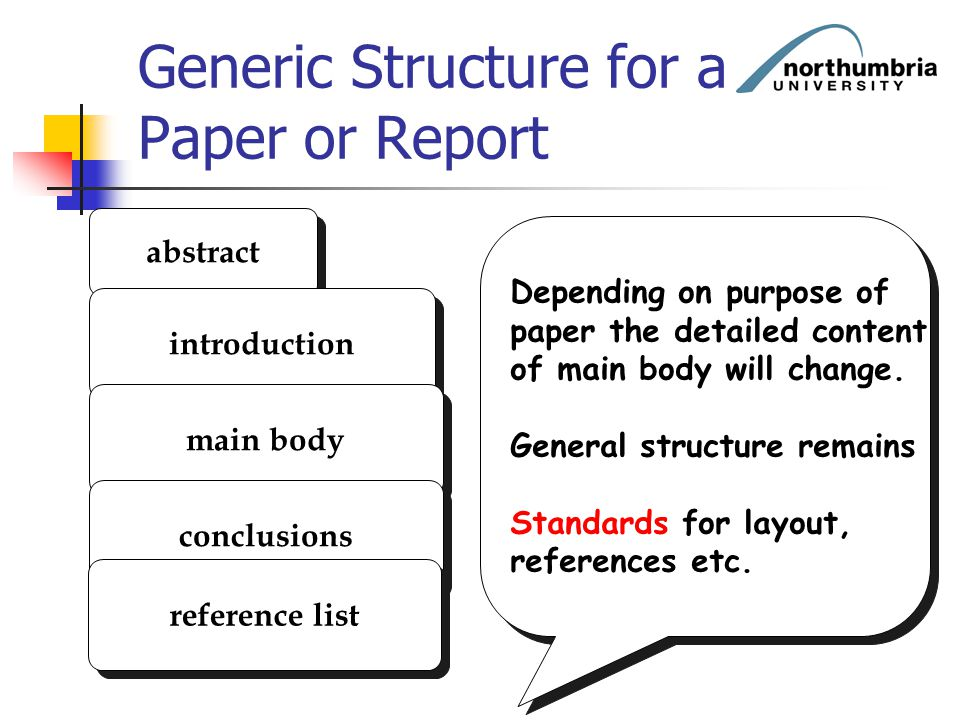 Generic Structure for a Paper or Report