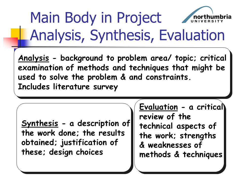 Main Body in Project Analysis, Synthesis, Evaluation