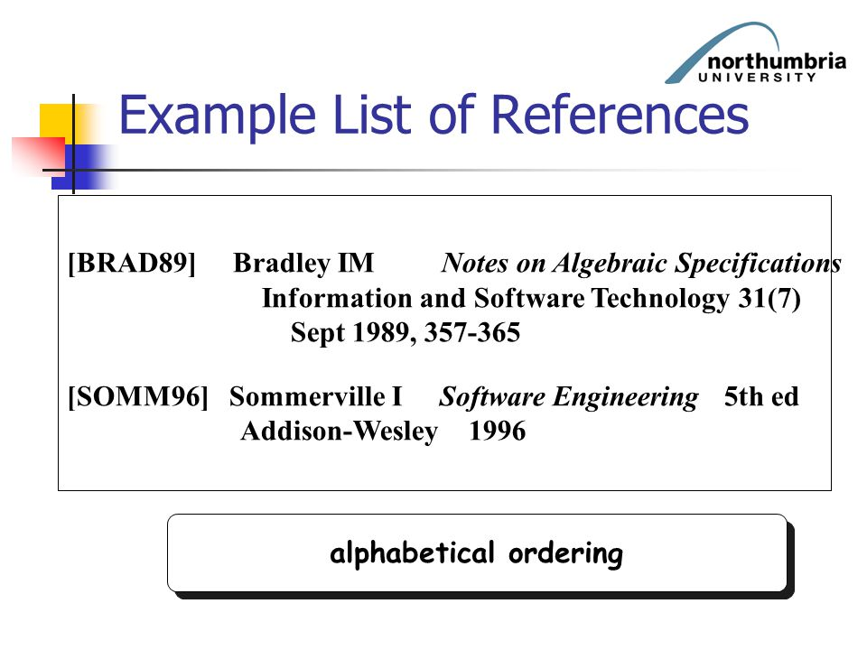 Example List of References